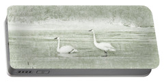 Portable Battery Charger featuring the photograph Trumpeter Swan's Winter Rest Green by Jennie Marie Schell