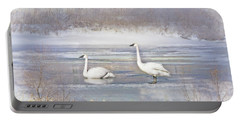 Portable Battery Charger featuring the photograph Trumpeter Swan's Winter Rest by Jennie Marie Schell