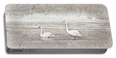 Portable Battery Charger featuring the photograph Trumpeter Swan's Winter Rest Beige by Jennie Marie Schell