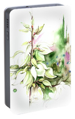 Portable Battery Charger featuring the painting Trying On Wedding Dress by Anna Ewa Miarczynska