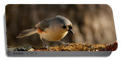 Tufted Titmouse In Fall Portable Battery Charger