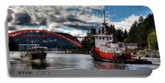 Tugboat At The Rainbow Bridge Portable Battery Charger by David Patterson