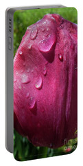 Portable Battery Charger featuring the photograph Tulip After The Rain by Jean Bernard Roussilhe