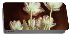 Portable Battery Charger featuring the digital art Tulip Backsides by Bonnie Willis