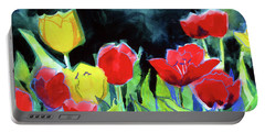 Portable Battery Charger featuring the painting Tulip Bed At Dark by Kathy Braud
