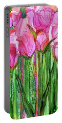 Portable Battery Charger featuring the mixed media Tulip Bloomies 1 - Pink by Carol Cavalaris