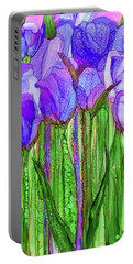 Portable Battery Charger featuring the mixed media Tulip Bloomies 1 - Purple by Carol Cavalaris