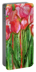Portable Battery Charger featuring the mixed media Tulip Bloomies 1 - Red by Carol Cavalaris