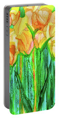 Portable Battery Charger featuring the mixed media Tulip Bloomies 1 - Yellow by Carol Cavalaris