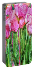 Portable Battery Charger featuring the mixed media Tulip Bloomies 2 - Pink by Carol Cavalaris
