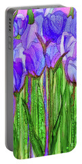 Portable Battery Charger featuring the mixed media Tulip Bloomies 2 - Purple by Carol Cavalaris