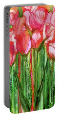 Portable Battery Charger featuring the mixed media Tulip Bloomies 2 - Red by Carol Cavalaris