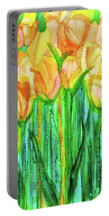 Portable Battery Charger featuring the mixed media Tulip Bloomies 2 - Yellow by Carol Cavalaris