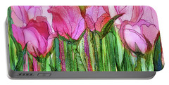 Portable Battery Charger featuring the mixed media Tulip Bloomies 3 - Pink by Carol Cavalaris
