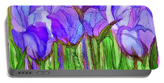 Portable Battery Charger featuring the mixed media Tulip Bloomies 3 - Purple by Carol Cavalaris