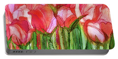 Portable Battery Charger featuring the mixed media Tulip Bloomies 3 - Red by Carol Cavalaris