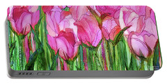 Portable Battery Charger featuring the mixed media Tulip Bloomies 4 - Pink by Carol Cavalaris
