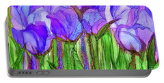 Portable Battery Charger featuring the mixed media Tulip Bloomies 4 - Purple by Carol Cavalaris