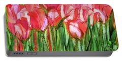 Portable Battery Charger featuring the mixed media Tulip Bloomies 4 - Red by Carol Cavalaris