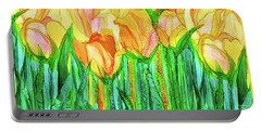 Portable Battery Charger featuring the mixed media Tulip Bloomies 4 - Yellow by Carol Cavalaris
