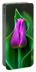 Tulip Cradled In Leaf Portable Battery Charger