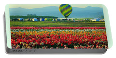 Tulip Field And Hot Air Balloon Portable Battery Charger by Steve Warnstaff