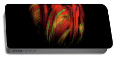 Tulip Flower On Black Background Abstract Portable Battery Charger