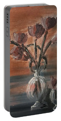 Tulip Flowers Bouquet In Two Round Water Filled Small Globe Shaped Vases On A Table Still Life Of Bo Portable Battery Charger by MendyZ