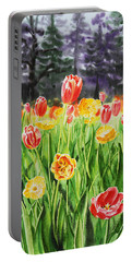 Portable Battery Charger featuring the painting Tulip Garden In San Francisco by Irina Sztukowski
