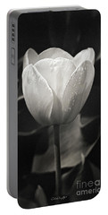 Tulip In Black And White Portable Battery Charger