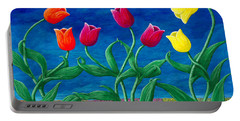 Portable Battery Charger featuring the painting Tulip Tango by Rebecca Parker