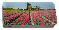 Tulips And Windmills In Holland Portable Battery Charger