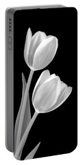 Tulips In Black And White Portable Battery Charger