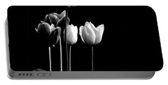 Tulips In Black Portable Battery Charger