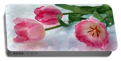 Tulips In Snow Portable Battery Charger