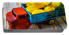 Tulips In Toy Truck Portable Battery Charger by Garry Gay