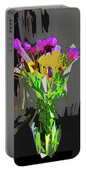 Tulips In Vase Cubed Portable Battery Charger by David Pantuso