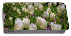Tulips In White Portable Battery Charger