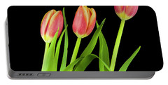 Tulips On Black Portable Battery Charger