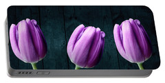 Tulips On Wood Portable Battery Charger