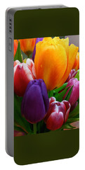 Portable Battery Charger featuring the photograph Tulips Smiling by Marie Hicks