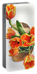 Portable Battery Charger featuring the pyrography Tulips by Stephanie Frey