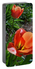 Portable Battery Charger featuring the photograph Tulips Wearing Orange by Sandi OReilly