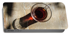 Turkish Tea On A Wooden Table Portable Battery Charger