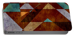 Turquoise And Bronze Triangle Design With Copper Portable Battery Charger