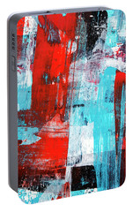 Portable Battery Charger featuring the painting Turquoise And Red Abstract Painting by Christina Rollo
