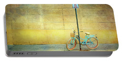 Turquoise Bicycle Portable Battery Charger by Craig J Satterlee