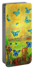 Turquoise Butterflies Portable Battery Charger by Haleh Mahbod