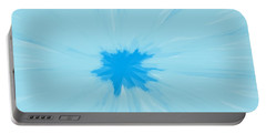 Turquoise Flower Abstract Portable Battery Charger by Linda Velasquez