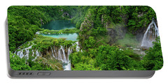 Turquoise Lakes And Waterfalls - A Dramatic View, Plitivice Lakes National Park Croatia Portable Battery Charger
